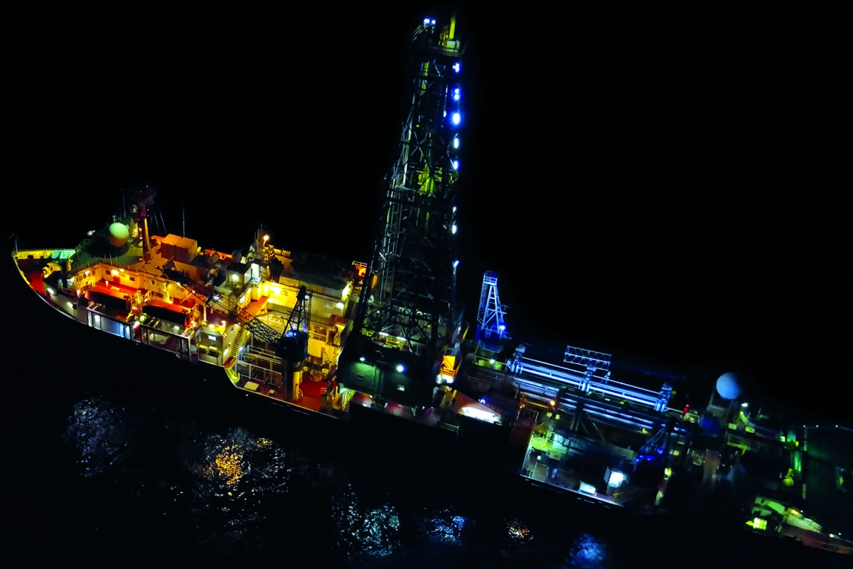Night vision of the scientific drillship JOIDES Resolution that recovered multimillion year past climate archives for the bottom of the world oceans. Photo: Adam Kurtz