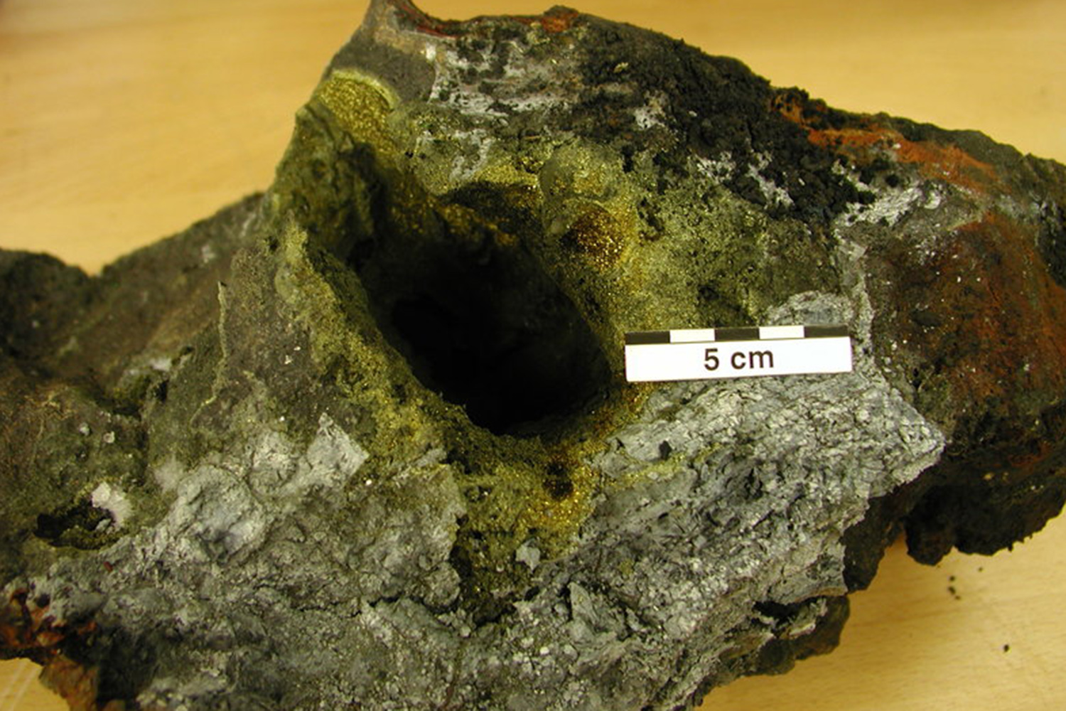 Ore from the deep sea: massiv sulfide of a black smoker. Source: GEOMAR.
