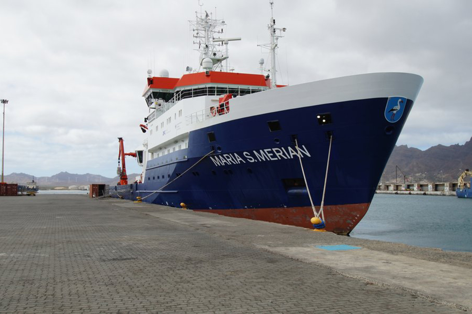 The German RV MARIA S. MERIAN in Mindelo. Photo: Björn Fiedler, GEOMAR